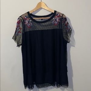 Lane Bryant lace overlay top w/ floral embroidery